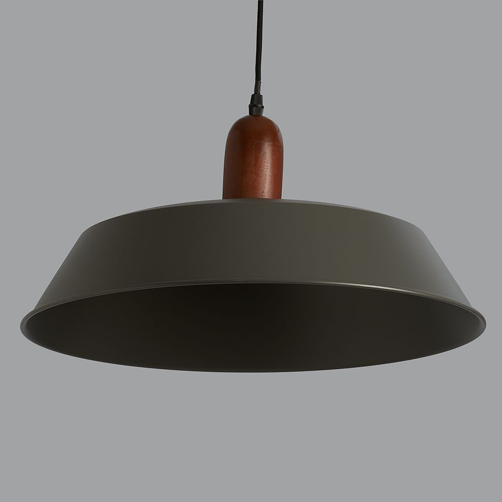 Phineas Dark Grey And Wood Pendant Light